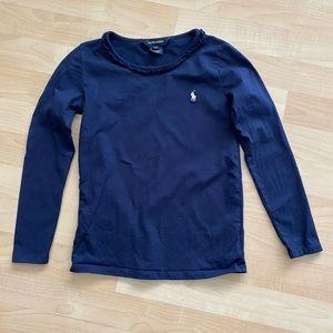 Polo Ralph Lauren Girls Navy Ruffle T Shirt 6X
